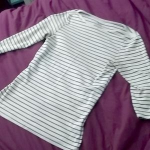 Women's 1/4 Sleeved Navy Blue & White Stripe Top